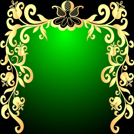 black textured background: illustration green background frame with vegetable gold(en) pattern Illustration