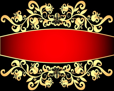 illustration red background frame with vegetable gold(en) pattern Vector