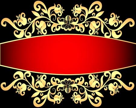 illustration red background frame with vegetable gold(en) pattern
