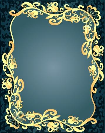 illustration spotted background frame with vegetable gold(en) pattern Vector