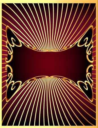 medieval scroll: illustration background frame vertical brown with ray and gold(en) pattern Illustration