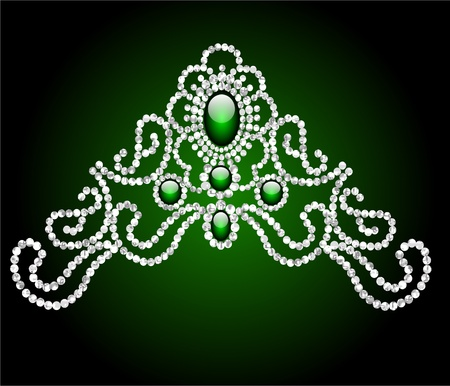 illustration wedding feminine diadem with green stone Vector