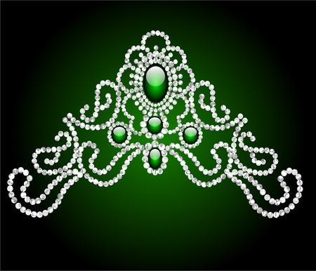 embellishments: illustration wedding feminine diadem with green stone
