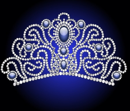illustration wedding feminine diadem with blue stone Vector
