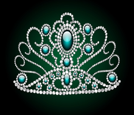 illustration wedding feminine diadem on green background Vector
