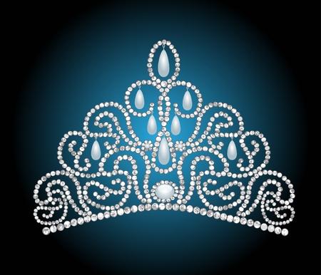 illustration wedding feminine diadem with pearl lavaliere Vector