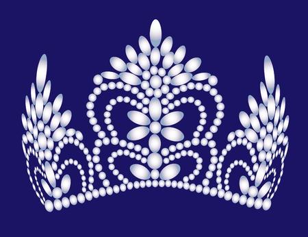 illustration wedding feminine diadem from pearl Vector