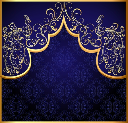 arch: illustration decorative background frame with gold(en) peacock Illustration