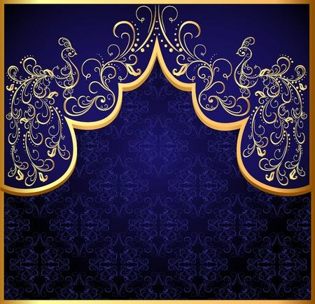 pavo real: ilustraci�n marco fondo decorativo de oro (en) pavo real Vectores