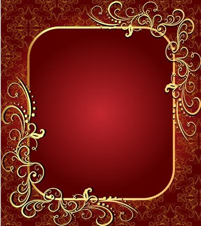 illustration brown background with frame with gold(en)(en) sample