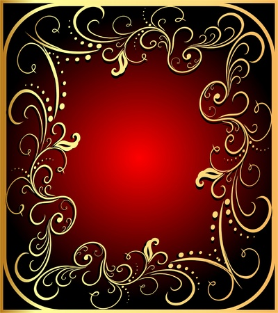 illustration   background with  frame with gold(en) pattern Stock Vector - 13594572