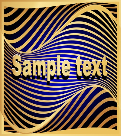 illustration gold(en) abstract background to technologies with wave on blue Stock Vector - 13594580