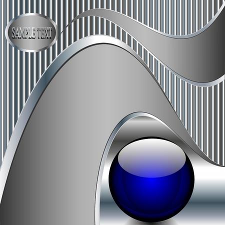 fond la technologie abstraite illustration m�tallique avec boule bleue