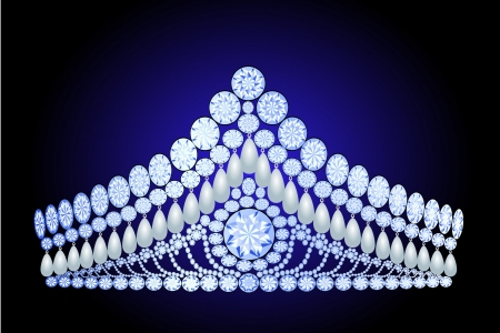 illustration beautiful diadem feminine wedding with pearl Vector