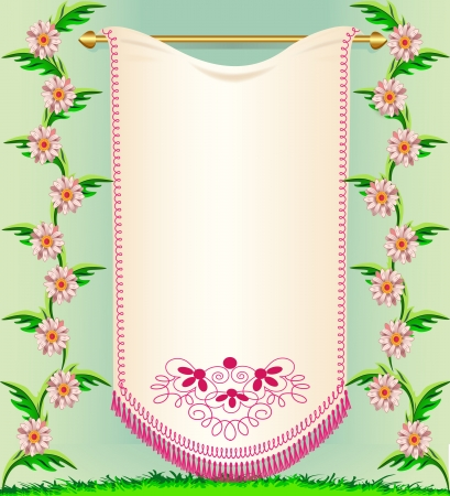 illustration napkin on background rose colour and herbs Vector