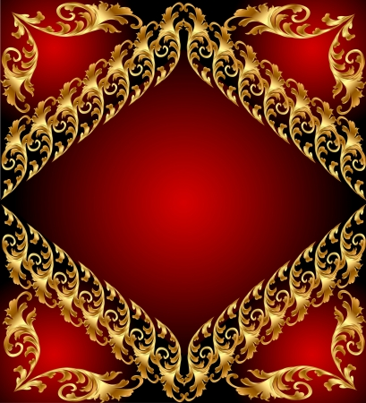 An abstract gold pattern. Illustration on red background for design Image  Vector