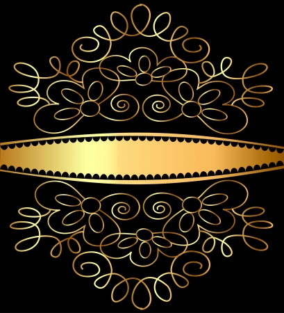illustration background frames pattern gold on black Vector