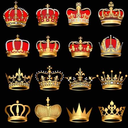 király: ábra beállít aranykorona fekete háttér Illusztráció