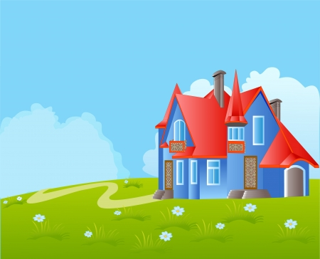 homely: illustration beautiful house with balcony on background of the herb and sky