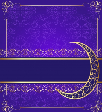 illustration seamless background with band and moon with gold(en) pattern Vector