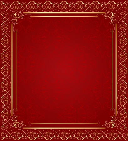 brown swirl: illustration brown background with frame with gold(en)(en) sample