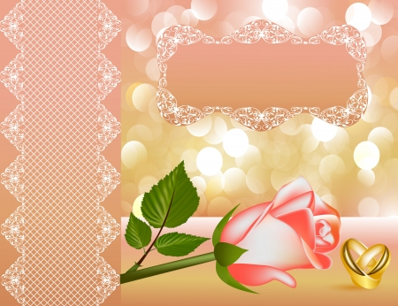 illustration wedding background with rose by  tape and ring