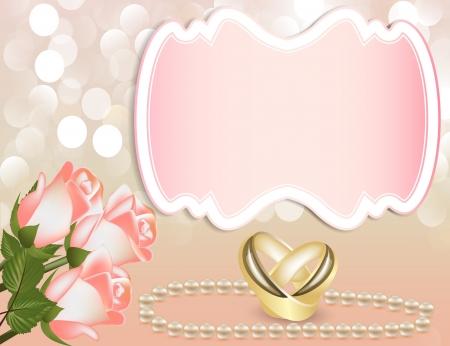 illustratie huwelijksuitnodiging met roos door parel met tape en ring