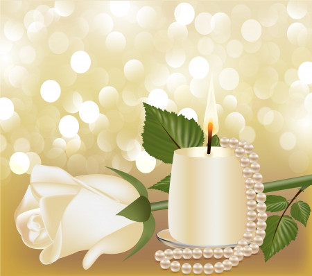 pearl necklace: illustration festive background with white rose, pearl by candle Illustration