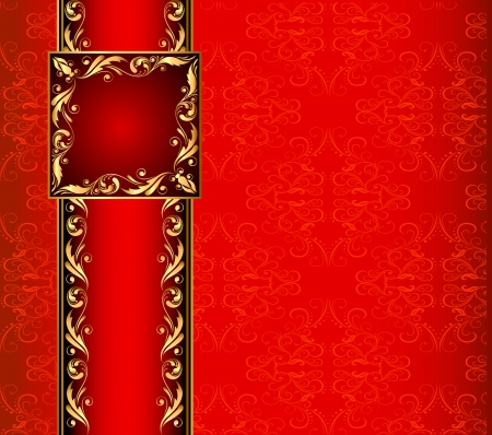 illustration seamless background with band and frame with gold(en) pattern Vector