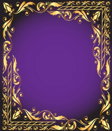 gold frame: illustration frame with vegetable and gold(en) pattern Illustration