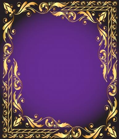 illustration frame with vegetable and gold(en) pattern Vector