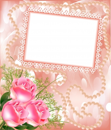 curled up: illustration frame for photo with rose and pearl