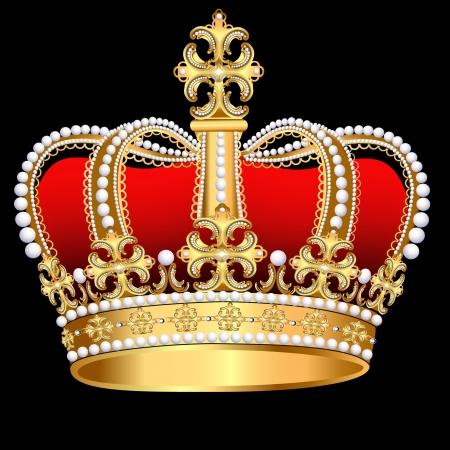 왕: 진주와 패턴 그림 짜르 골드 코로나 일러스트