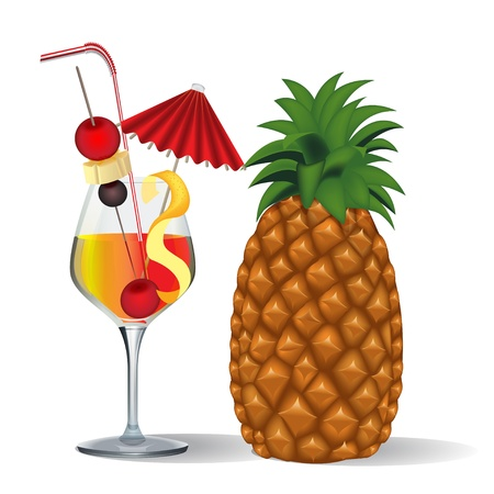 insulate: cocktail and fruits in goblet on white Illustration