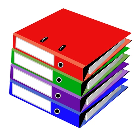 encyclopedias: illustration pile files for office on white Illustration