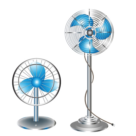 electric fan: illustration two ventilators electric floor and desk
