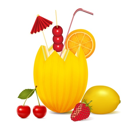 illustration cocktail melon cherry orange lemon and strawberries Vector