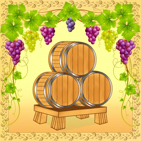 illustration wooden barrels with wine on background of the grapevine Vector
