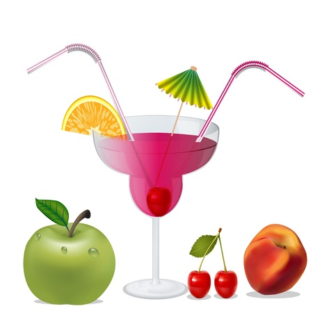illustration cocktail with cherry by peach and apple Vector