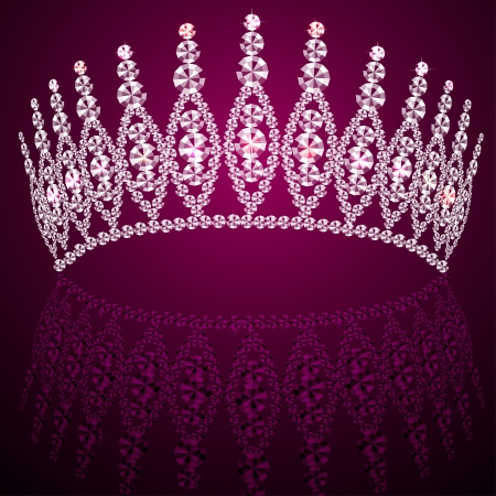 illustration corona diadem feminine wedding with reflection Vector