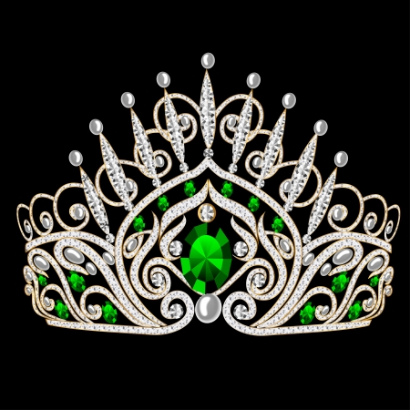 royal crown: illustration beautiful diadem feminine wedding with emerald on black background