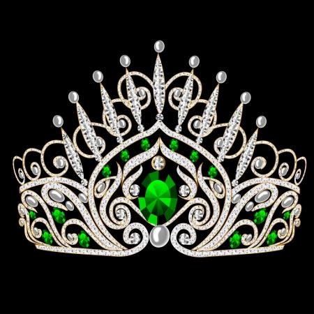 rhinestone: illustration beautiful diadem feminine wedding with emerald on black background