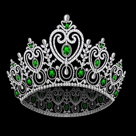 corona real: corona de la ilustración femenina diadema de boda con la esmeralda sobre fondo negro Vectores