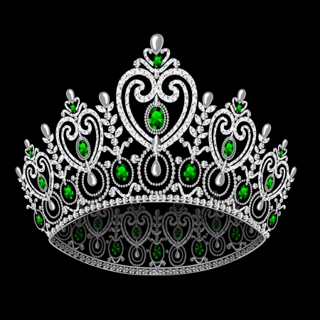 illustration corona diadem feminine wedding with emerald on black background Vector