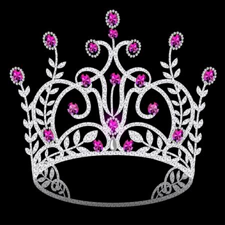 royal person: corona de la ilustraci�n femenina diadema de la boda con el rub� sobre fondo negro Vectores
