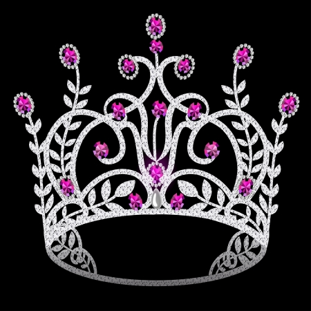illustration corona diadem feminine wedding with ruby on black background Vector