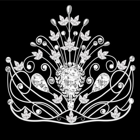 rhinestone: illustration corona diadem feminine wedding on black  Illustration