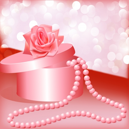 illustration rose and box with pearl necklace Vector