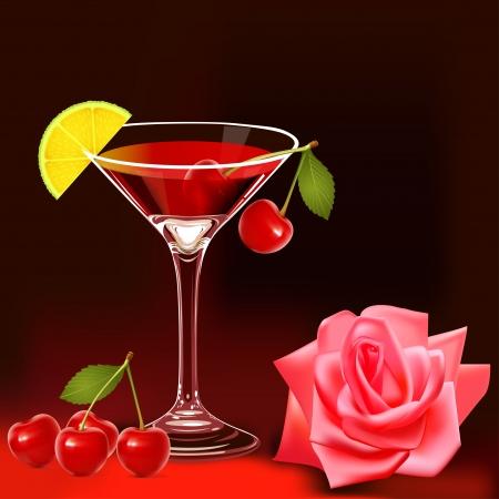 fruttosio: illustrazione con calice rosa e ciliegia matura