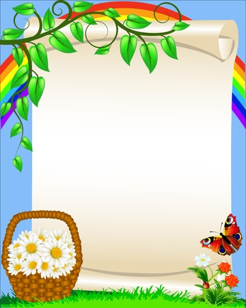 herb garden: illustration background with flower butterfly and rainbow